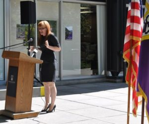 A Marine, pitbull and president help bring new Veteran Center to campus