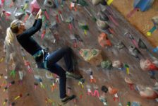 Students take on the wall at Learn to Rock Climb Day