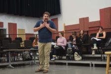 Vocal performance student sings challengingly high tenor notes in opera roles