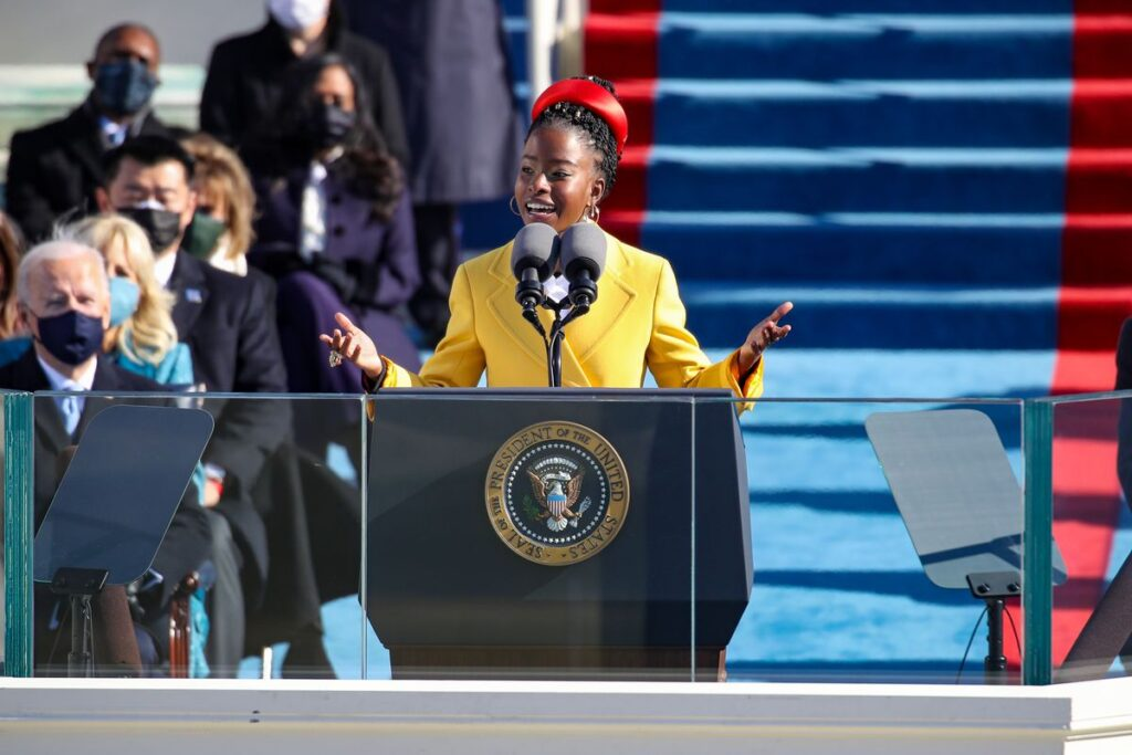 """Amanda Gorman performs her poem """"The Hill We Climb"""" at the Inauguration Day celebration on Jan. 20."""