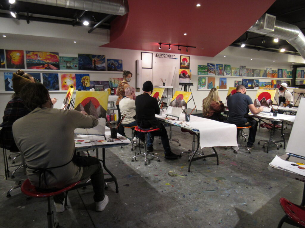 The Paint Mixer, a local art studio, hosts a socially-distanced wine and paint night.