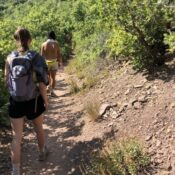 Westminster College students hike in Millcreek together. Unfortunately outdoor access is limited for some groups.