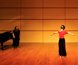 Katlyn Addison performs at No Voice is Too Soft alongside Westminster faculty Feb. 28.