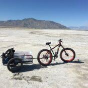 Salty Science Series panelist Dr. Perry's bike on the Great Salt Lake.