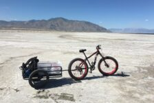 Salty Science Series panelist Dr. Perry's bike on the Great Salt Lake.