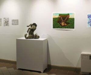 Various pieces in the new student art gallery.
