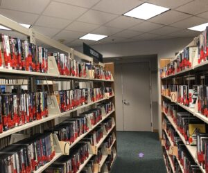 Giovale rentals on shelves in the library.