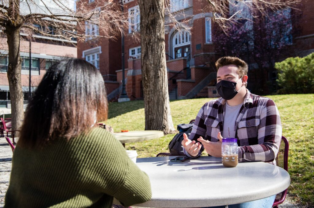 The new ASW board, President-elect Brendan Sudberry and Vice President-elect Deaun Saxby discuss their priorities in front of Converse Hall at Westminster College April 7.
